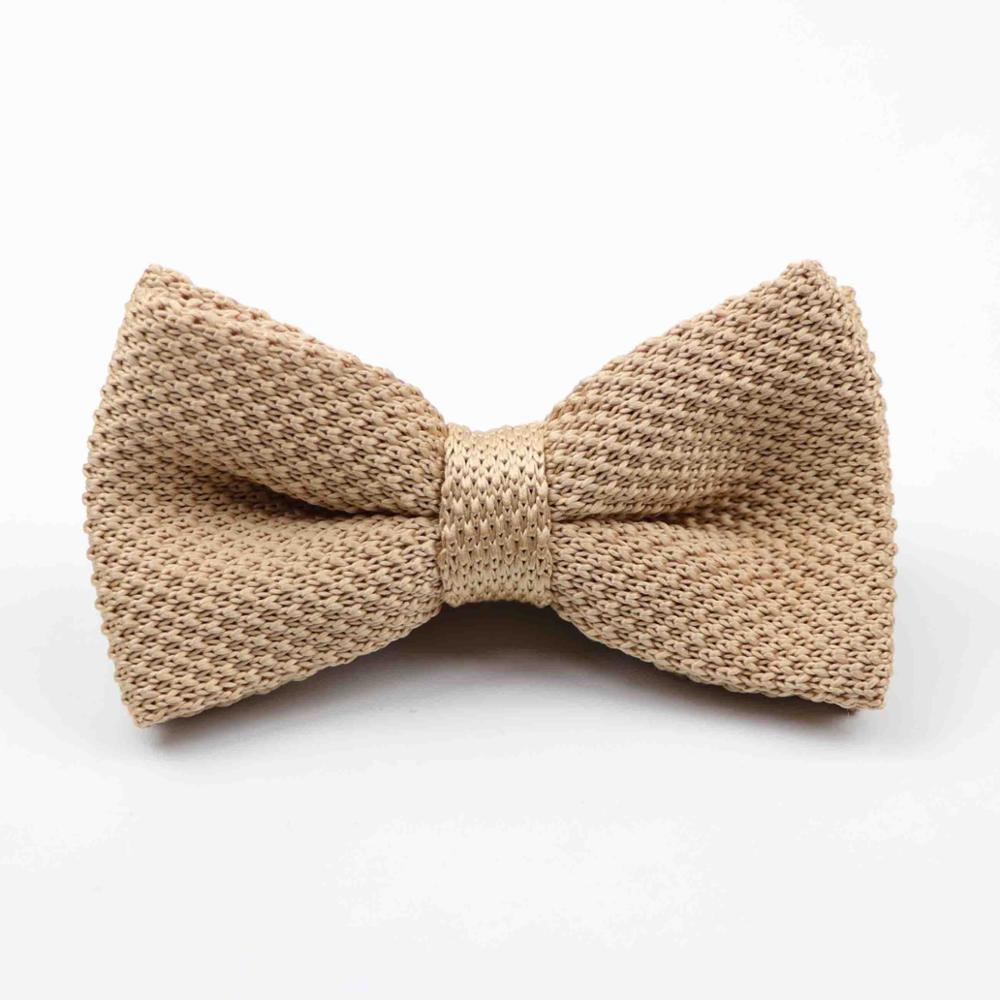 Мужские галстуки для шеи, смокинг, вязаная бабочка, Одноцветный галстук-бабочка, толстый двухслойный предварительно завязанный Регулируемый вязаный Повседневный галстук - Цвет: 43