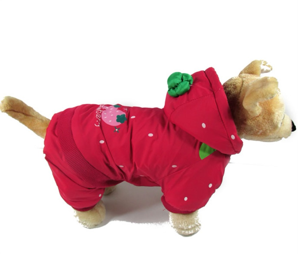 Red Small Pet Dog Clothes Warm Coat Small Dogs Windbreaker Coat Hooded Winter Warm Puppy C