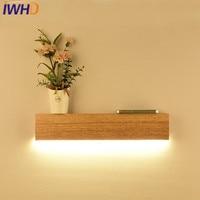 IWHD Wood Wandlamp Modern Wall Lamp Simple Led wall Light Fixtures Fashion Cuboid Bedroom Living room Lighting Stairs Luminaire