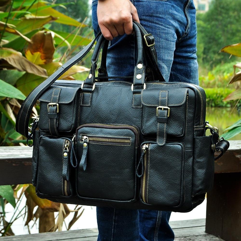 "HTB1ag1hfBfH8KJjy1Xbq6zLdXXaF Men Real Leather Antique Large Capacity Travel Briefcase Business 15.6"" Laptop Case Attache Messenger Bag Portfolio 3061-b"