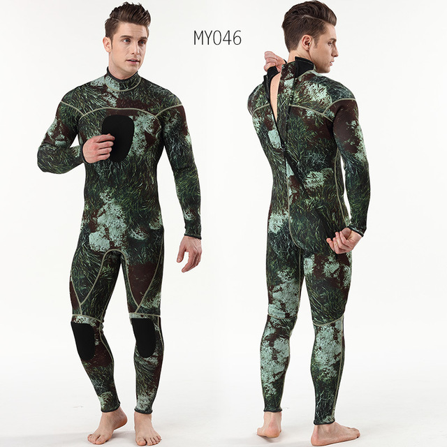 Mens spearfishing 3mm wetsuits Camouflage neoprene one piece scuba free diving suits with chest pad