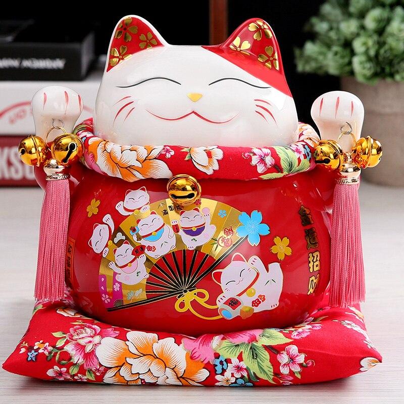 7 inch Maneki Neko Ceramic Chinese Lucky Cat Beckoning Fortune Cat Figurines Lucky Charm Money Box
