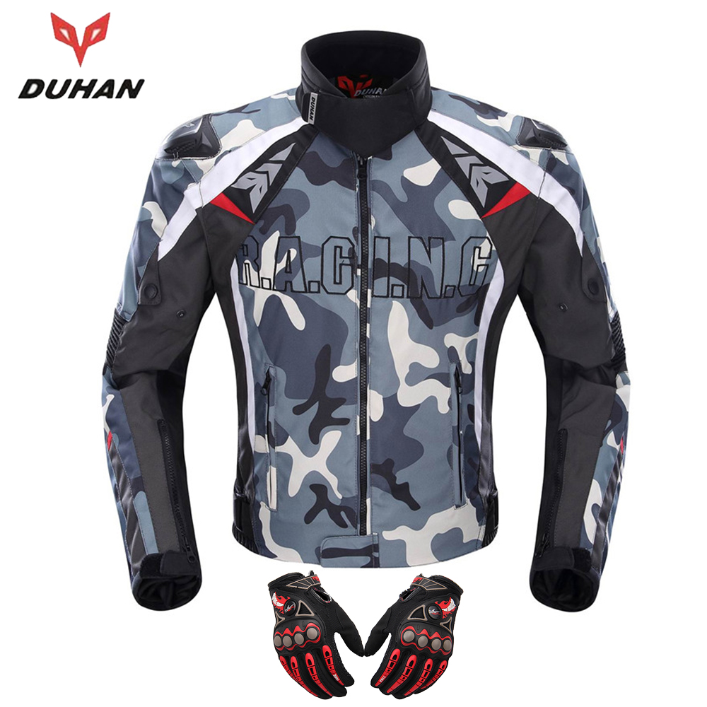 DUHAN Motorcycle Jacket Motocross Off-Road Racing Jacket Guards Clothing Camouflage Alloy Shoulder Protector Moto Jacket d117
