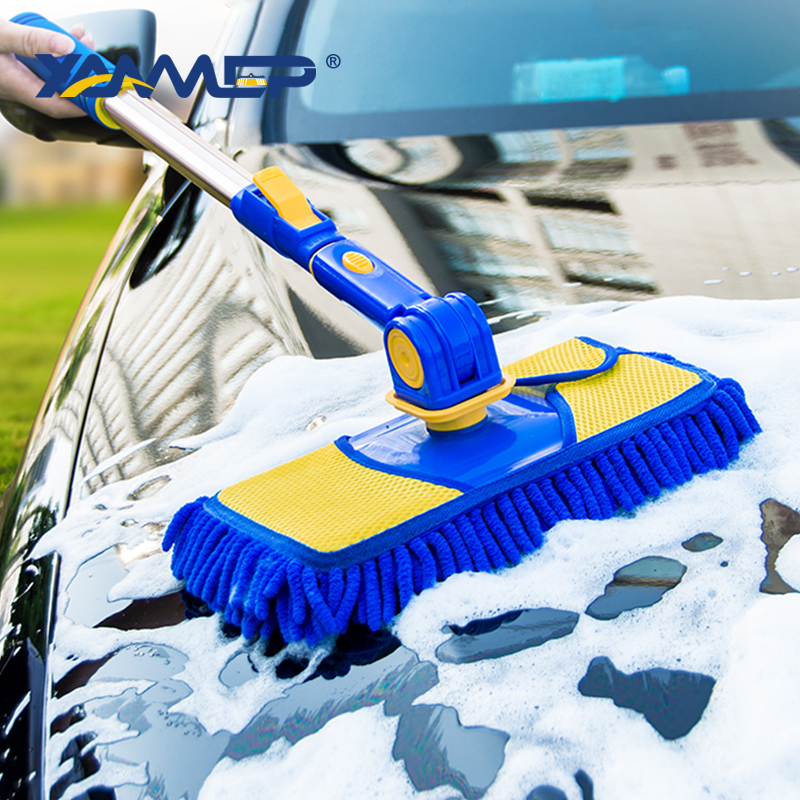 Car Wash Brush Cleaning Mop Chenille Broom Telescoping Long Handle Car Cleaning Tools Rotatable Brush Car Accessories Xammep