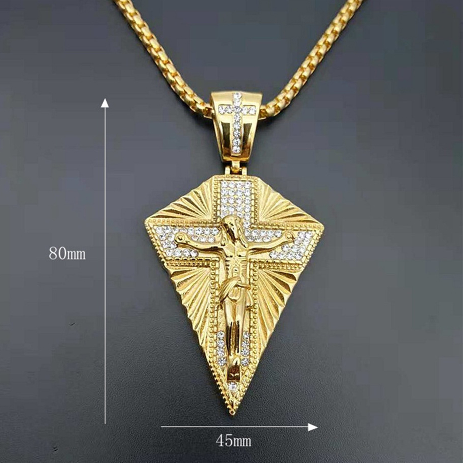 Stainless Steel Big Jesus Cross Pendant Chain Male Gold Color Paved Rhinestones Crucifix Necklaces For Men Jewelry in Pendant Necklaces from Jewelry Accessories