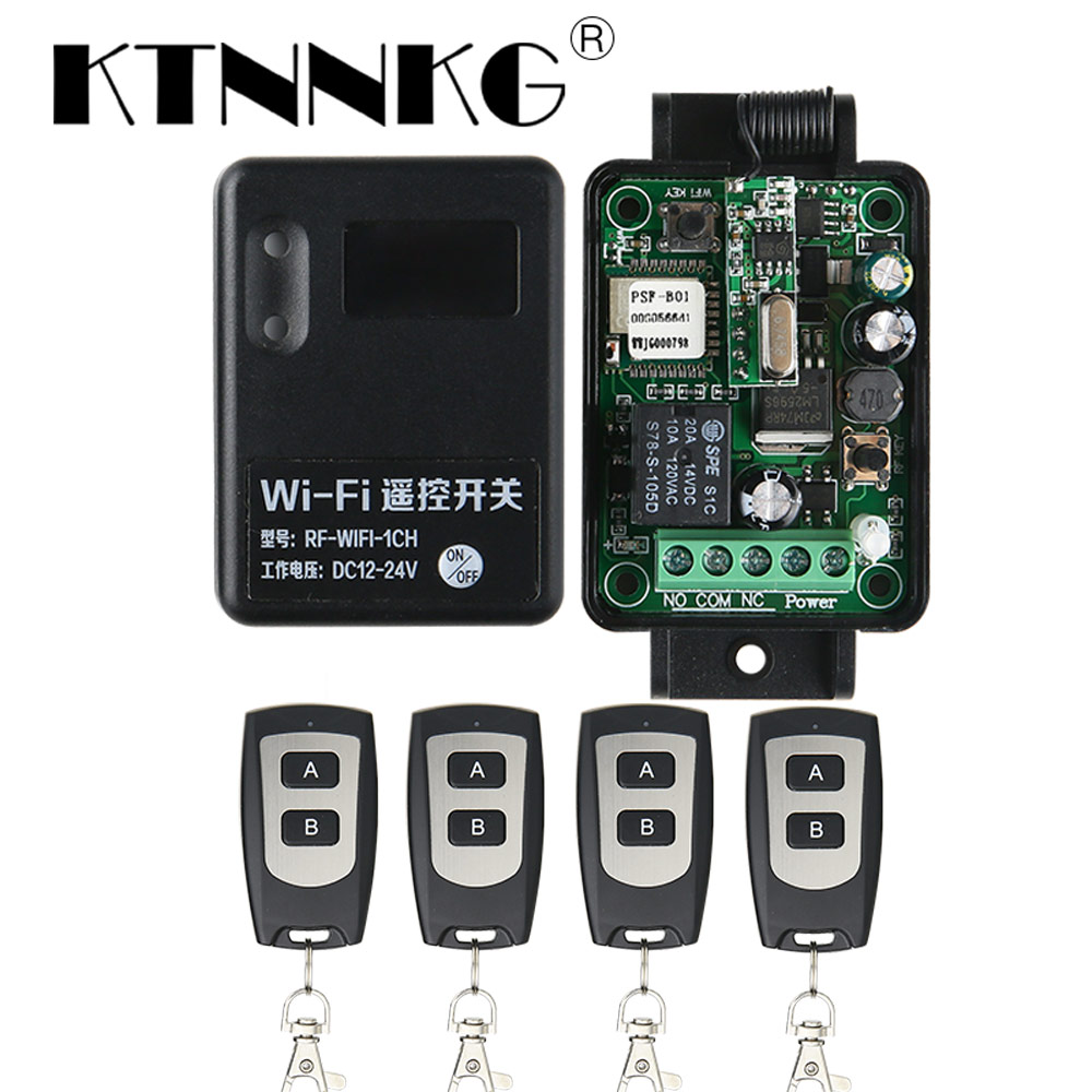 Smart Home Module DC 7-36V 10A Wifi Switch 1CH transceiver Controller and 2/4 Pcs 433Mhz RF Transmitter for Remote Garage