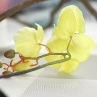high quality 10pcs phalaenopsis potted artificial orchid flower with leaf plastic vase simulation flower decoration home table