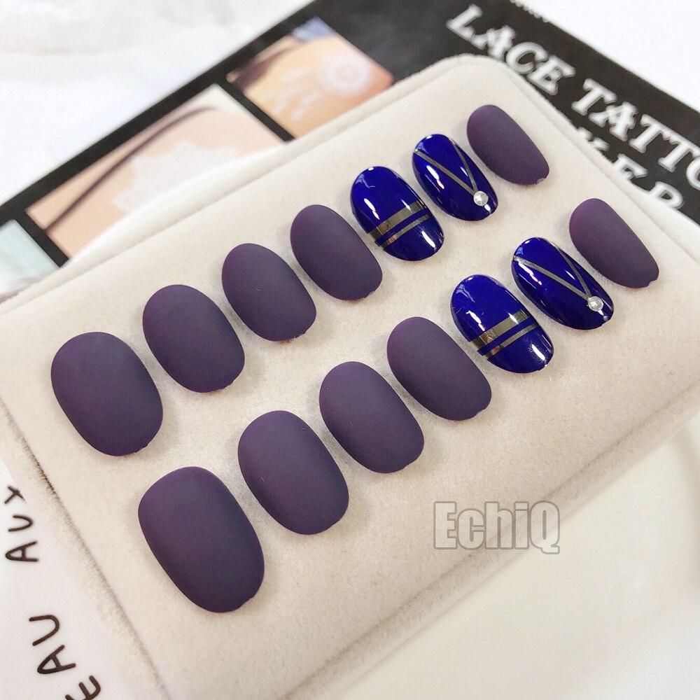24+4 Pcs Matte Fake Nails Dark Blue Acrylic False Nails Tip DIY Nail ...