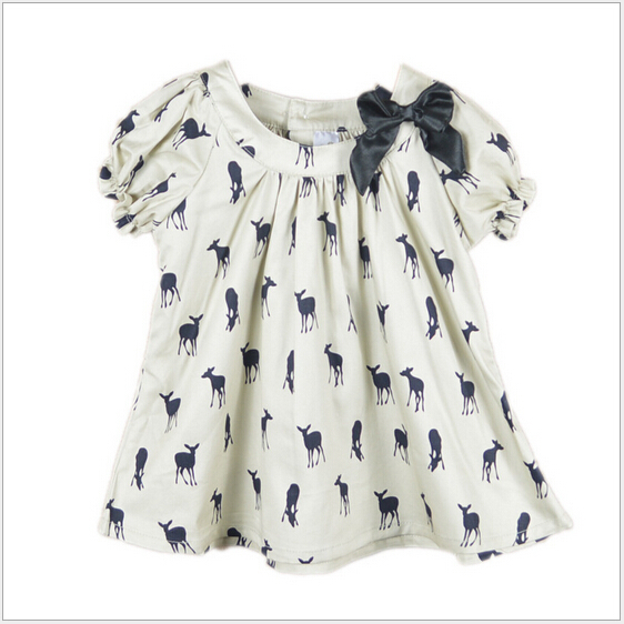 2015 summer bow baby girls dress toddler girl printed casual dresses cotton deer dress kids baby pretty children clothing