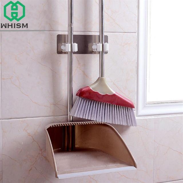Bon WHISM Plastic Wall Mounted Mop Storage Rack Self Adhesive Broom Holder  Bathroom Shelves Cleaning Brush Hooks