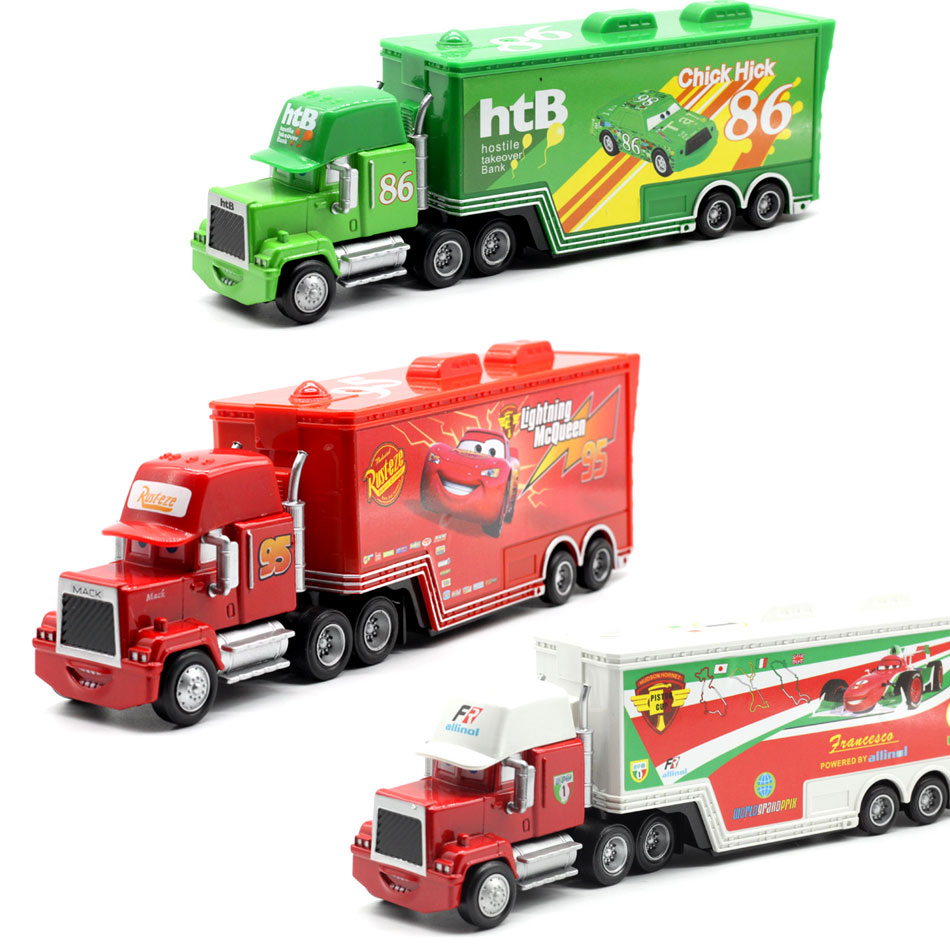 Disney Pixar Cars 4 Styles Mack Truck McQueen Uncle 1:55 Diecast Metal Alloy And Plastic Modle  Toys Car Gifts For Children