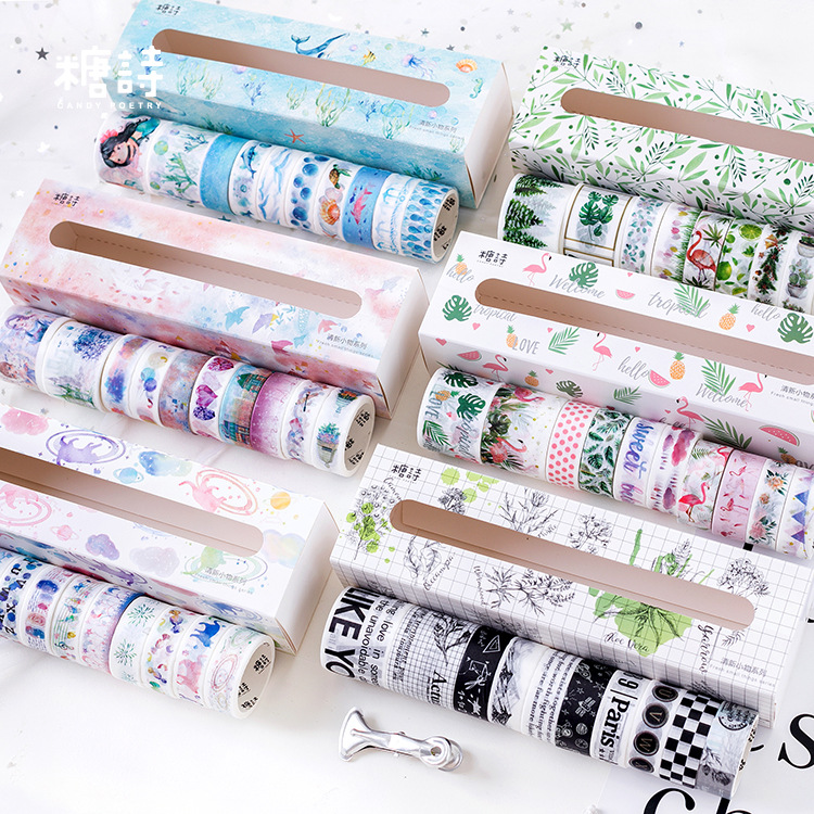 10pcs/pack Flamingo Undersea World Masking Washi Tape Decorative Adhesive Tape Decora DIY Scrapbooking Sticker Label Stationery