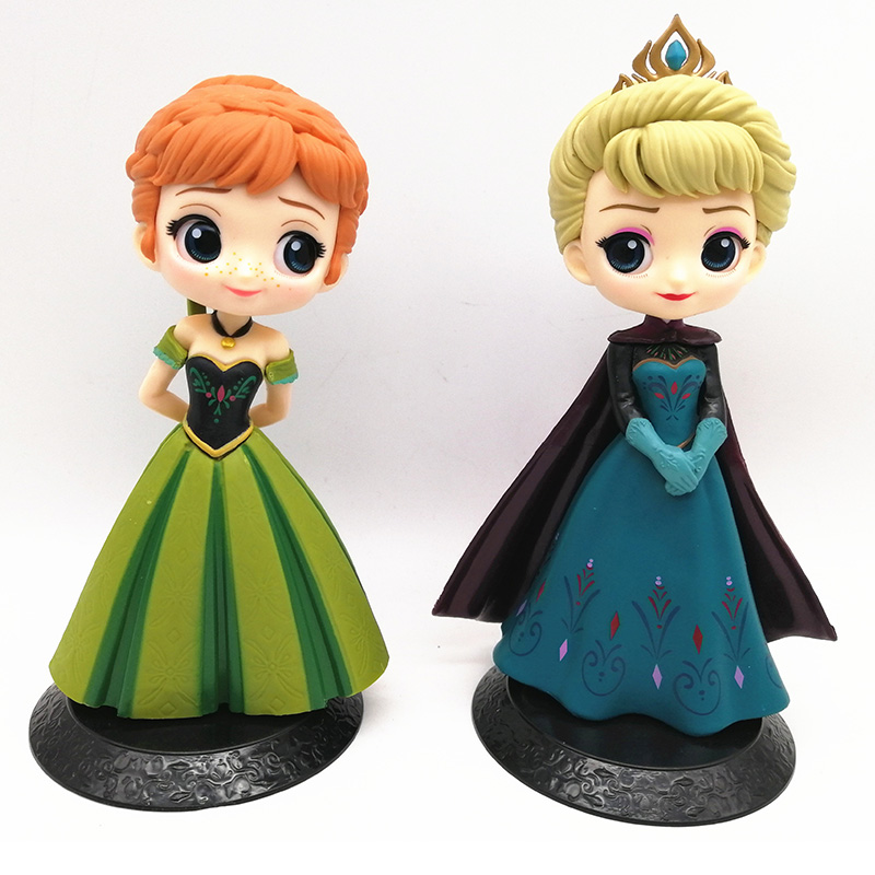 Disney 2pcs Q Posket Snow Queen Elsa & Anna Figure Toys Dolls Aurore PVC Anime Dolls Figures Collectible Model Kids Toys 15-17cm