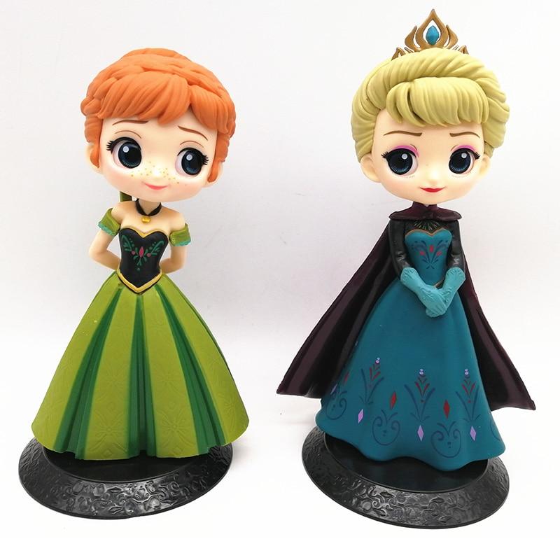 Disney 2pcs Q Posket Snow Queen Elsa & Anna Figure Toys Dolls Aurore PVC Anime Dolls Figures Collectible Model Kids Toys 15-17cm