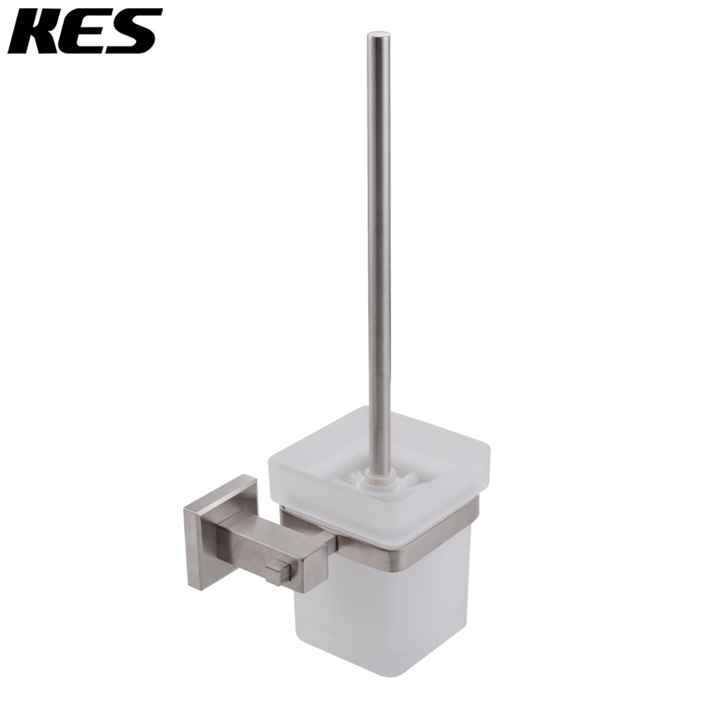 KES Toilet Brush with Holder Set Wall Mount SUS304 Stainless Steel Holder, Brushed Finish A21030-2 brand new toilet brush for cleaning black color with stainless steel wall mounted brush holder chromed finish