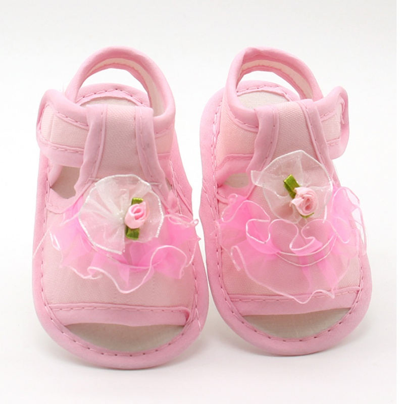 Pink White Red Baby Girl Lace Flowers Sandals Cotton Fabric Female Sandals Girl Summer ShoesFlowers Sandals   New
