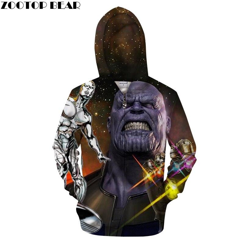 Avenger Hoodies 3D Zip Hoodie Men Zipper Hoody Casual Sweatshirt Printed Brand Tracksuit Pullover Coat DropShip ZOOTOP BEAR