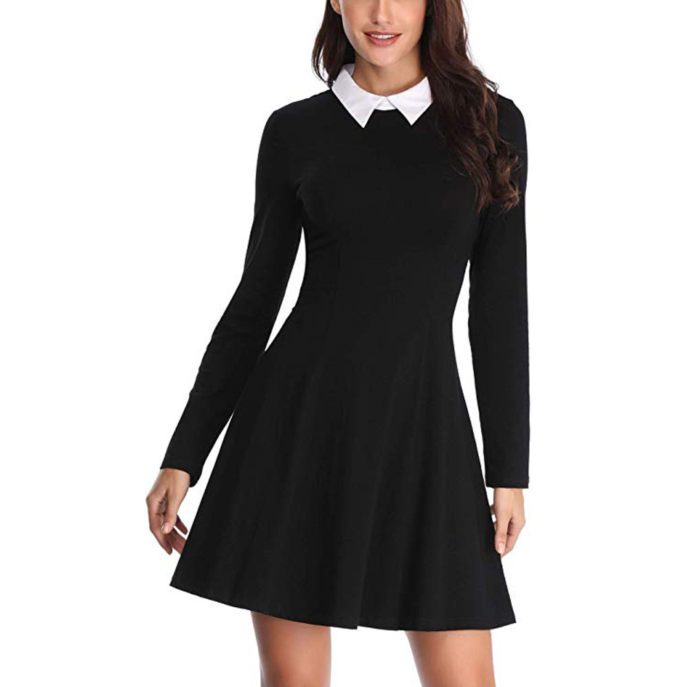 Vetement Femme 2019 Women's Fashion Long Sleeve Casual O-Neck Collar Fit And Flare Skater Solid Mini Dress Black Pink
