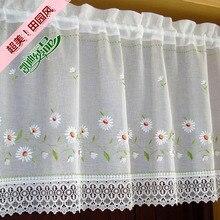Landschaft Half-vorhang Bestickt Fenster Valance Tragen Rohr Spitze Rand Kaffee Vorhang für Küche Schranktür A-106
