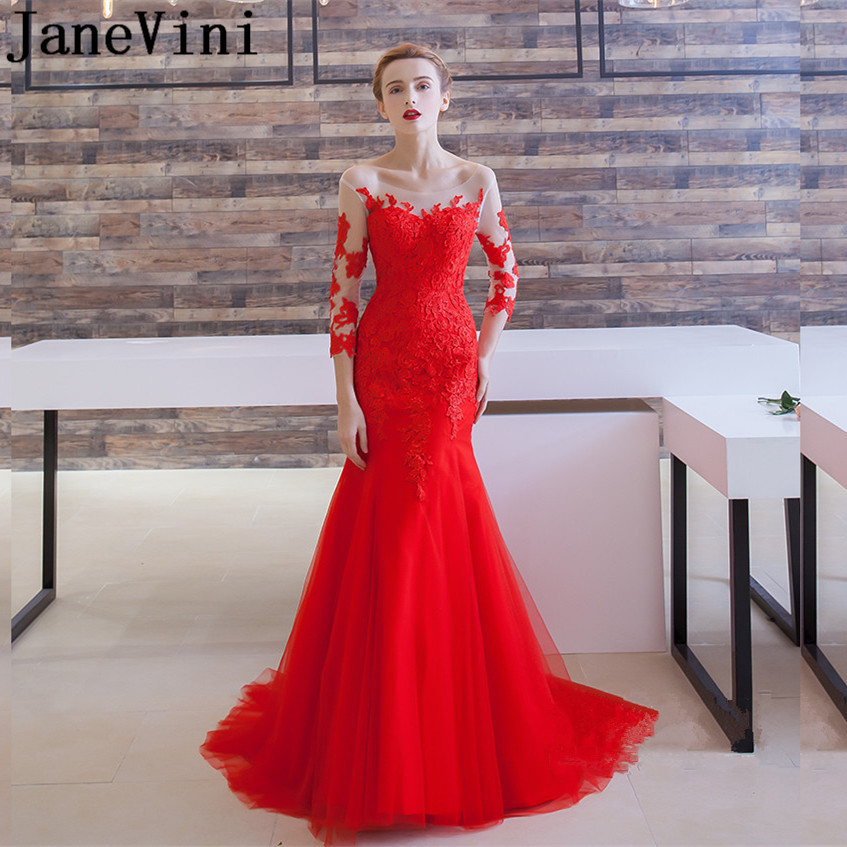 JaneVini Sexy Mermaid Red Long   Bridesmaid     Dresses   for Weddings Sheer Scoop Neck Lace Appliques Backless Tulle Formal Prom Gowns
