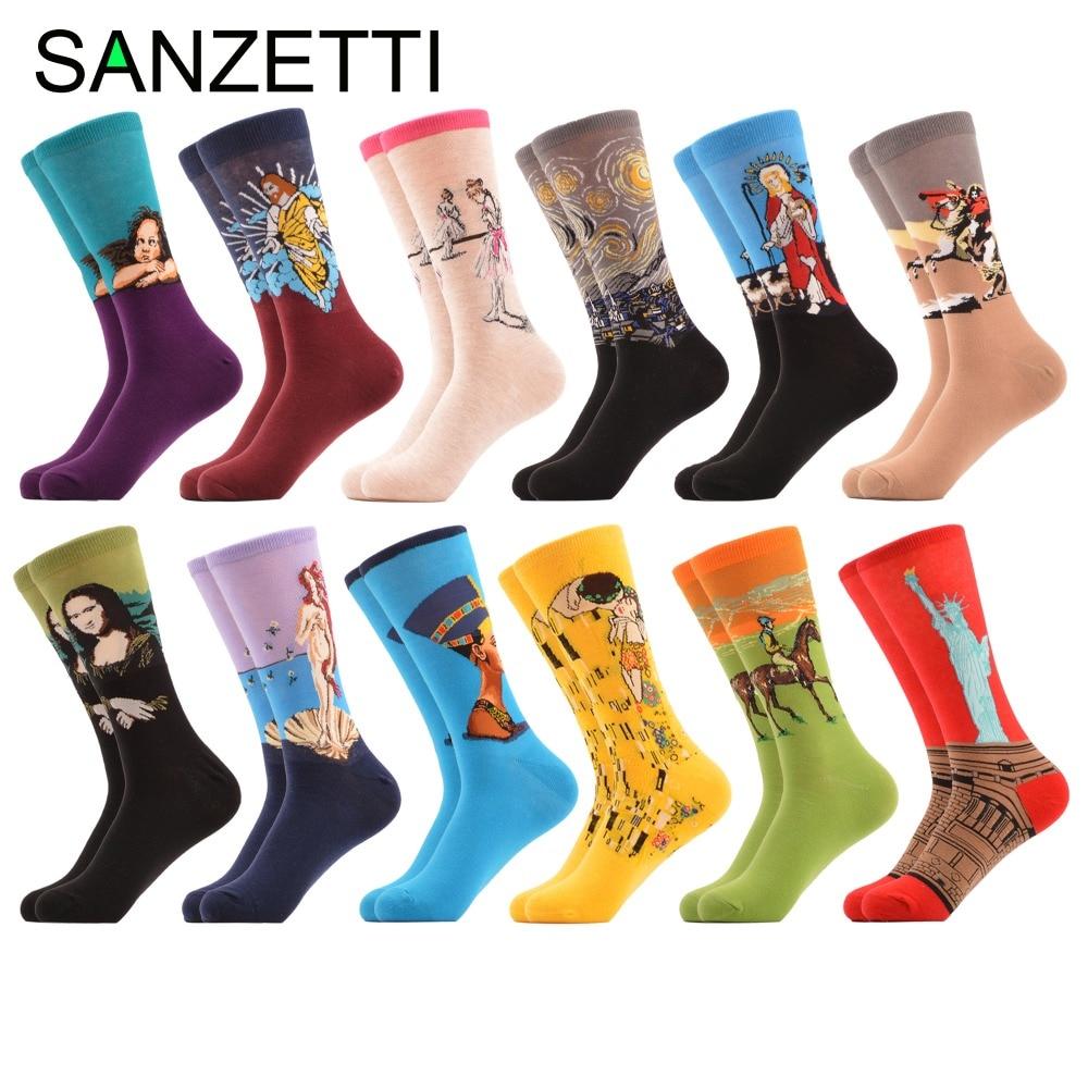 SANZETTI 12 pairs/lot Mens Colorful Combed Statue of Liberty Cotton Socks Jesus Funny Socks Dress Crew Sock Dozen Packs 2018