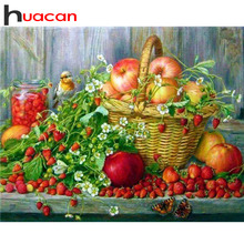 Huacan Алмазная вышивка цветок вышивка крестиком 5D DIY Алмазные вышитые фрукты Алмазная мозаика настенный Рисунок картина горный хрусталь