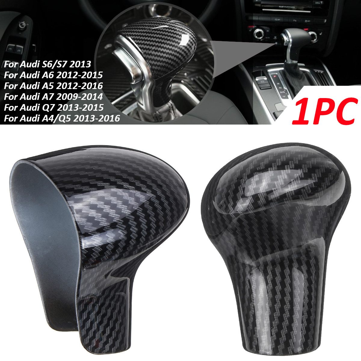 LHD Car ABS Carbon Fiber Speed Gear Shift Knob Cover Cap Sticker Trim For <font><b>Audi</b></font> A3 8V S3 <font><b>A4</b></font> B8 A5 A6 C7 S6 A7 S7 A8 Q5 2009 -2016 image