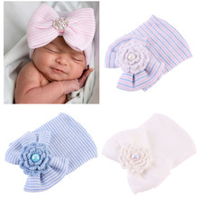 Newborn Hospital Hat Infant Baby Hat Cap with Big Bow Soft Cute Knot Nursery Cotton Knitted Beanie 1pc newborn baby hat soft pure cotton infant bebe boy girl beanie hospital hat heart baby knitted bonnet cap