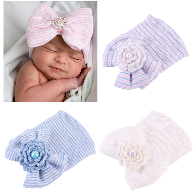 6f4df14d29503 Newborn Hospital Hat Infant Baby Hat Cap with Big Bow Soft Cute Knot  Nursery Cotton Knitted Beanie 1pc