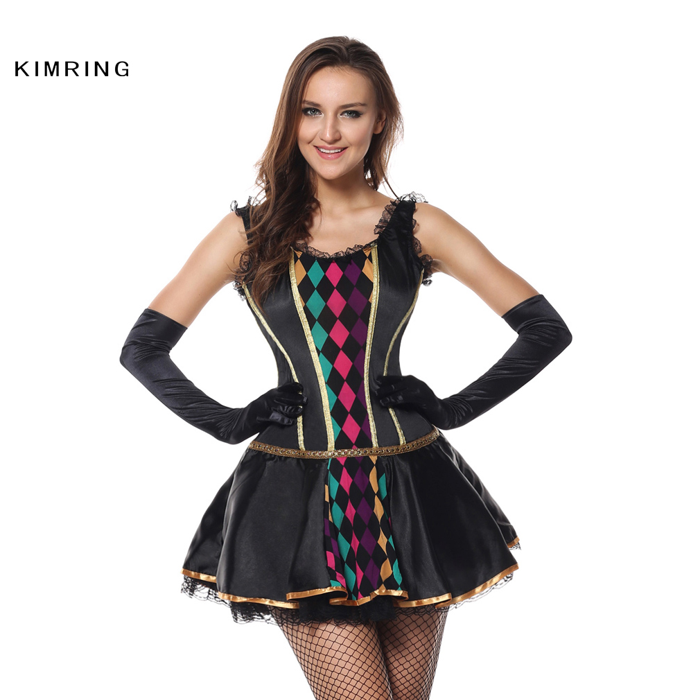 kimring fashion harlequin halloween costume circus clown cosplay sexy fancy dress adult carnival costume dress - Halloween Costumes Harlequin