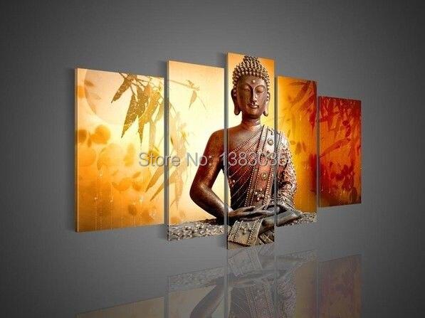 Hand Painted Modern Buddha Painting Bamboo Sunset Landscape Canvas ...