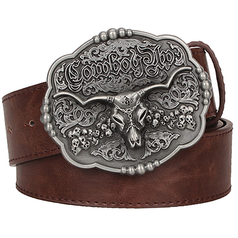 3c74c9b09081 Cool Texas cowboy ceinture tauren vintage mâle ceintures sauvage Western  cowboy style ceinture hommes ceinture en cuir de Vache crâne taille Jeans  sangle ...