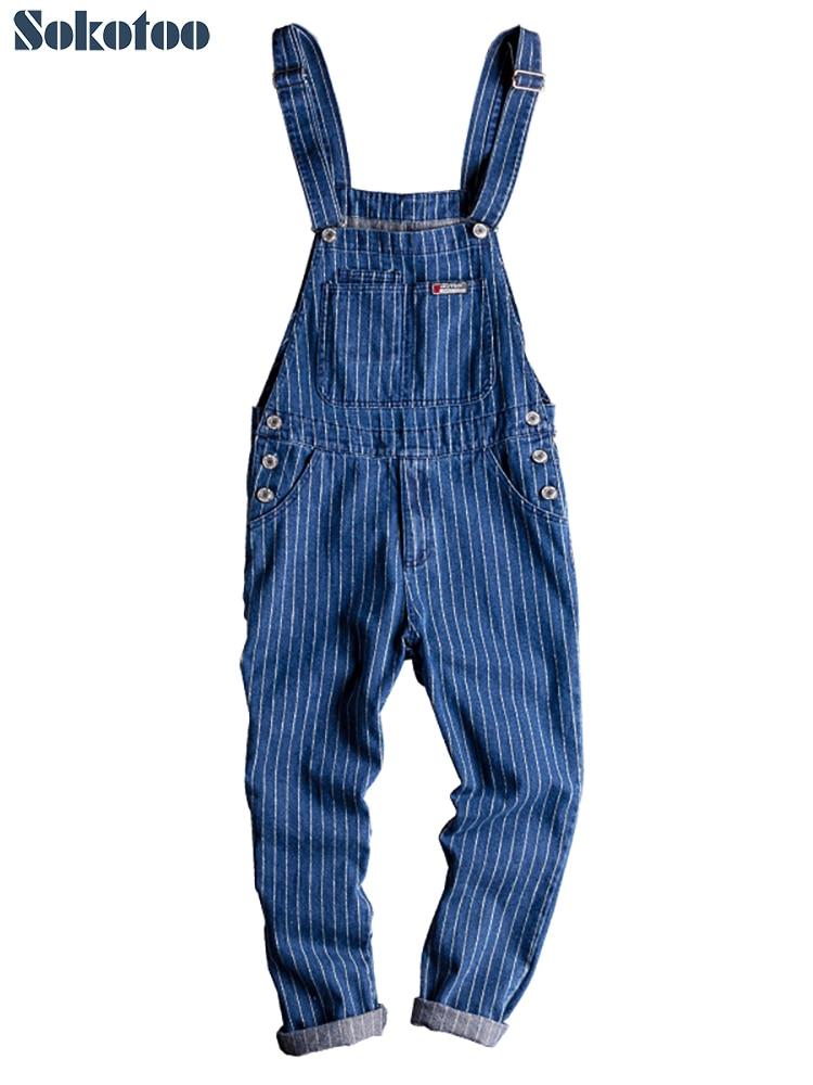 Sokotoo Men's Stripe Printed Blue Denim Bib Overalls Suspenders Jumpsuits Coveralls Youth Jeans