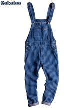 Sokotoo männer streifen gedruckt blau denim bib overalls Hosenträger overalls Overalls Jugend jeans