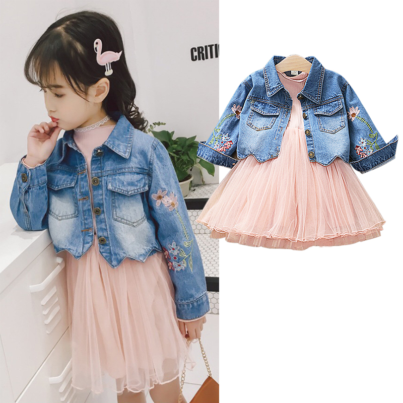 Spring fall sleeve flower embroidery baby denim jacket +solid lace dress girls 2 pcs set kid suit children clothes 80-126cm цены