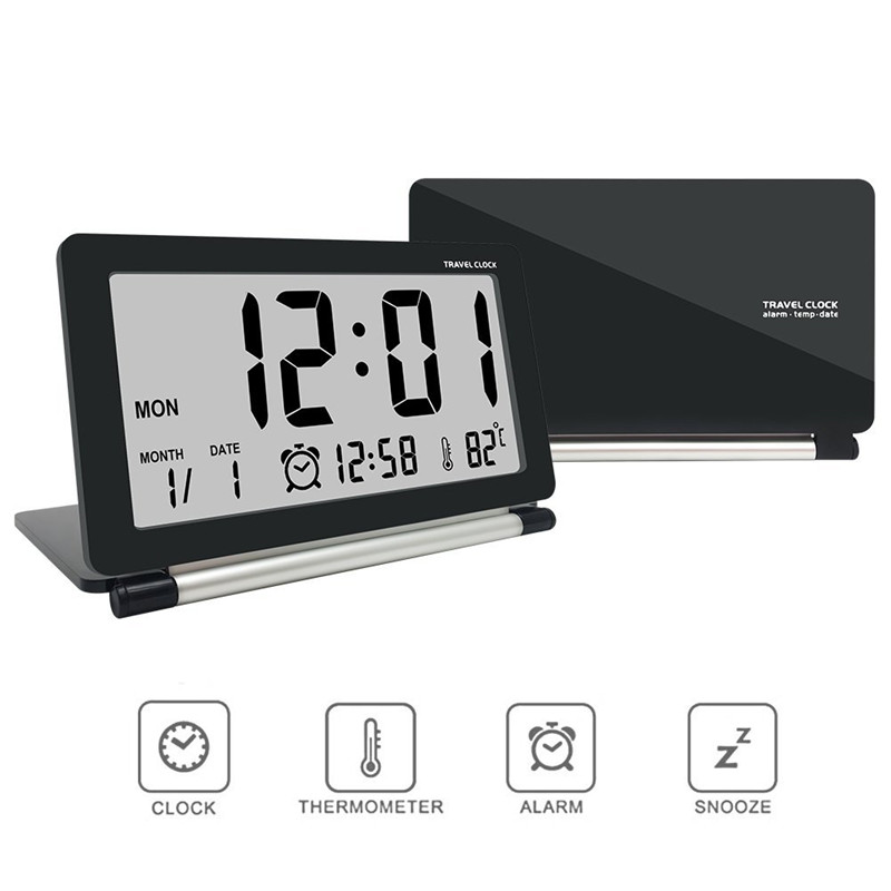 Smart Home Electronic Alarm Clock Multifunction Silent LCD Digital Large Screen Folding Desk Clock With Temperature цена