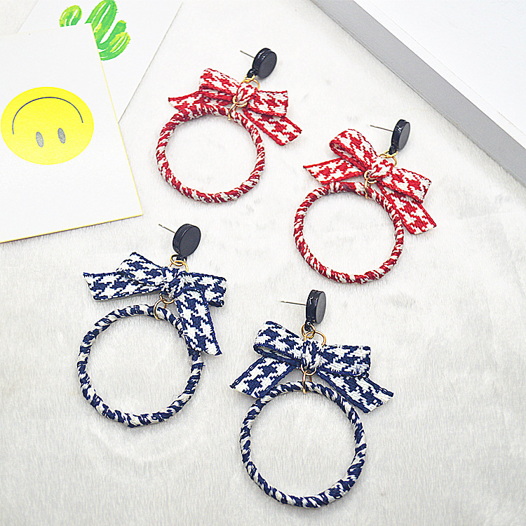 Creative Trendy Women Earrings Korean Style Bowknot Ring Trinket Popular Hipster Jewelery 4 Colors Fashion Lady Earrings