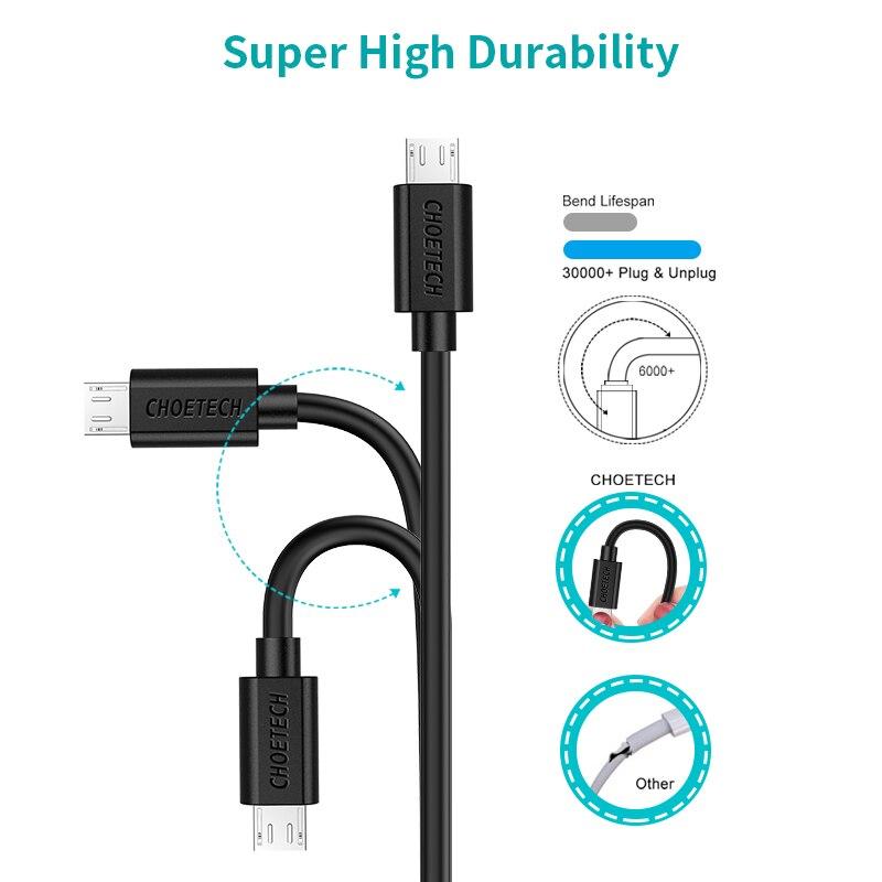 CHOETECH միկրո USB մալուխ 5V 2.4A 1.2 մ 0,5 մ - Բջջային հեռախոսի պարագաներ և պահեստամասեր - Լուսանկար 5