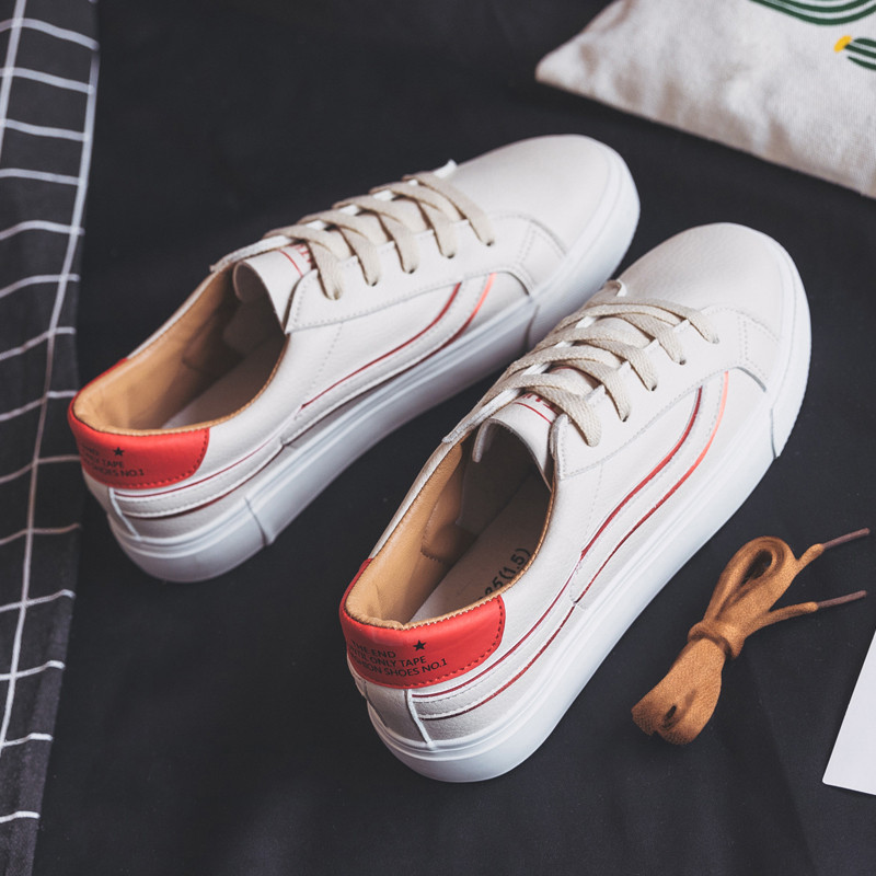MEIL 2018 women shoes new fashion casual platform PU leather classic women casual lace up white Spring shoes sneakers in Women 39 s Vulcanize Shoes from Shoes