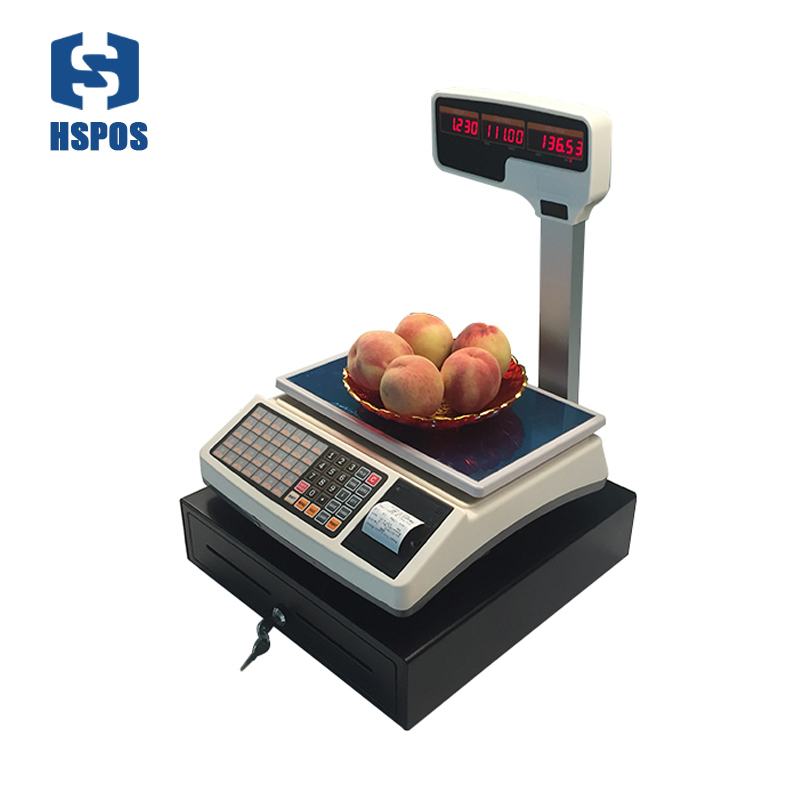 HSPOS Receipt Thermal Printing Weighting Scale with RJ11 Port and Cash Drawer for POS Retail Cash Register System for Shops cash register drawer pos cash drawer five grids three section of the cashbox with rj11 interface