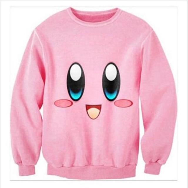 New cartoon Kirby lovable Printed 3D mens womens sweatshirt crewneck sweatshirts pullover long sleeve shirts casual outfits tops