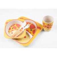 Baby 5Pcs/Set Bamboo Dinnerware Sets Cute Cartoon Animal Theme Anti fall Natural Fiber Tableware For Feeding Kids BPA Free