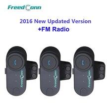 PRECIO AL POR MAYOR! Envío Libre!! 3 unids Moto de La Motocicleta BT Bluetooth Headset Multi Interphone Del Intercomunicador Del Casco con Radio FM