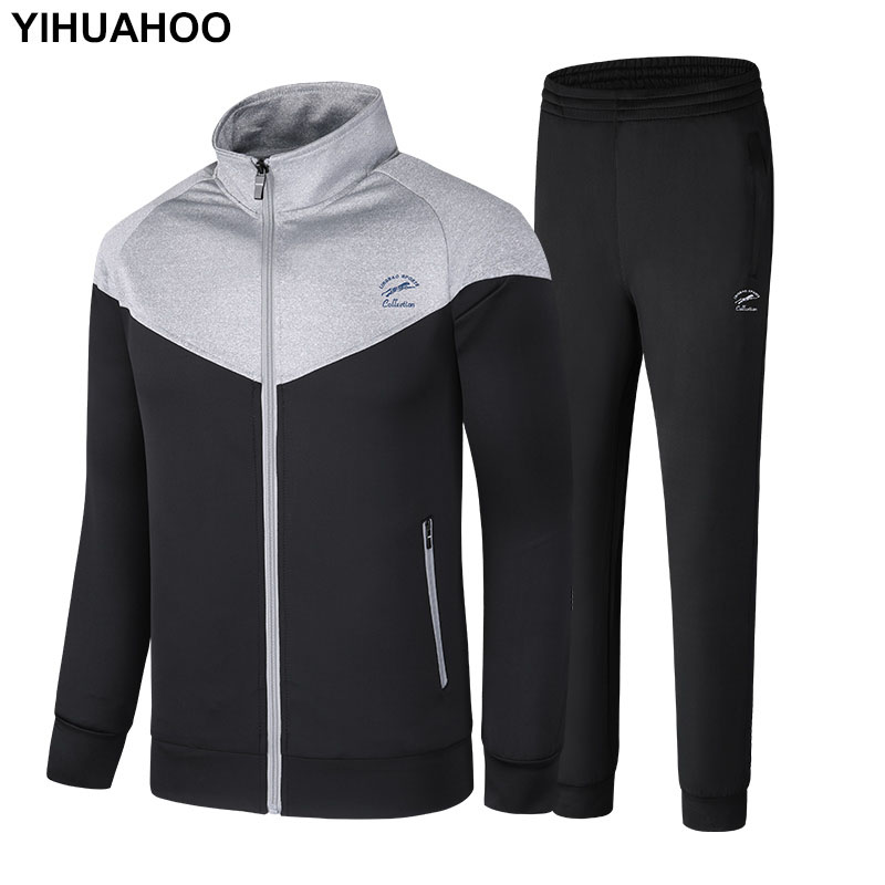YIHUAHOO Brand Tracksuit Men Jacket And Pants Two Piece Clothing Set Casual Men's Sportswear Sweatshirt Track Suit 5XL LB-86013