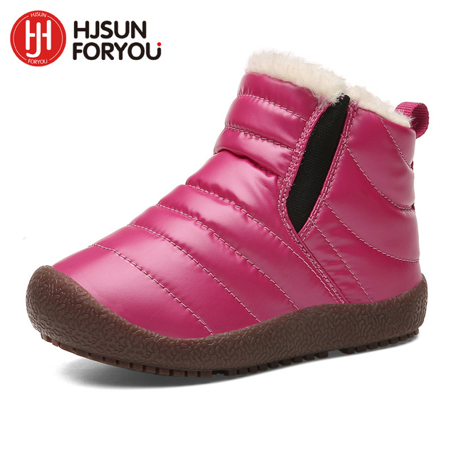 2019 New Winter Children Shoes Leather Waterproof Martin Boots For Brand Girls Boys Rubber Boots Fashion Sneakers Baby Snow Boot