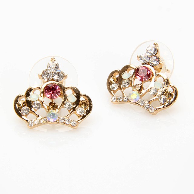 Charming Crown Earrings Cute Rhinestone Colorful Stud Earring Alloy For Women Wedding Party Accessories