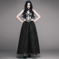Gothic Steampunk Black Sexy Sleeveless Vintage Strap Dress Summer Elegant Strapless Noble Woman Backless Club Long
