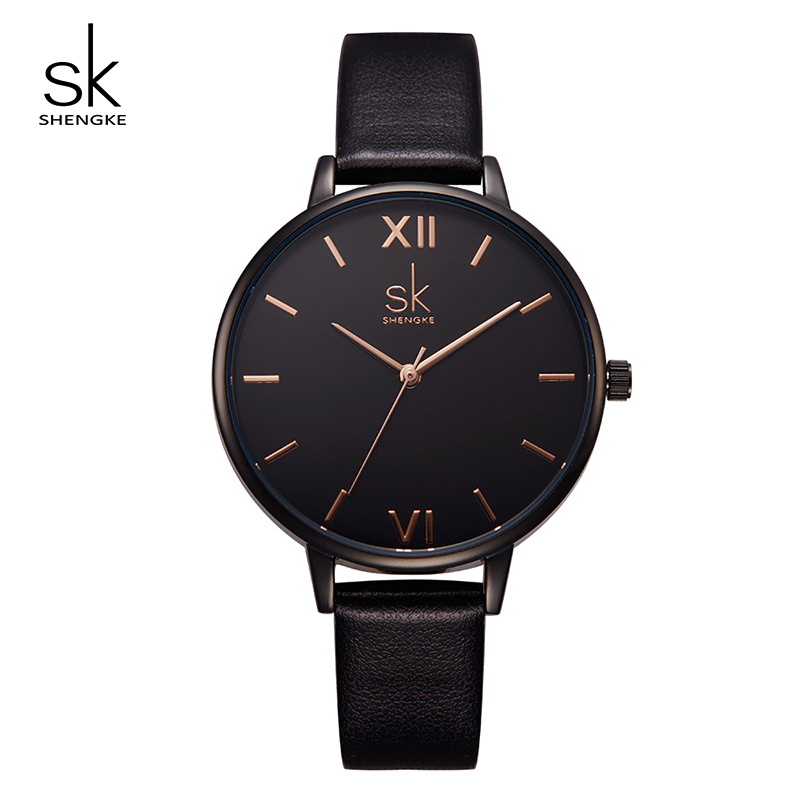 Shengke Brand Fashion Women Leather Watches Luxury Quartz Ladies Watches Relogio Feminino 2018 SK Black Wrist Watch Female Clock shengke luxury watches women rhinestone bracelet watches ladies quartz wristwatch relogio feminino 2018 female clock k0011