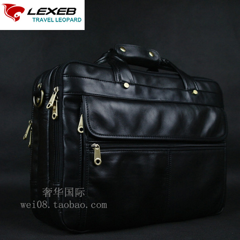 LEXEB Full Grain Leather Men's Briefcase For 15 Laptop High Quality Business Travel Bag Classic Office Bags For Men Black lexeb brand lawyer briefcase vintage crazy horse leather men laptop bag 15 inches high quality office bags 42cm length brown