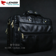 LEXEB Full Grain Leather Men's Briefcase For 15″ Laptop High Quality Business Travel Bag Classic Office Bags For Men Black